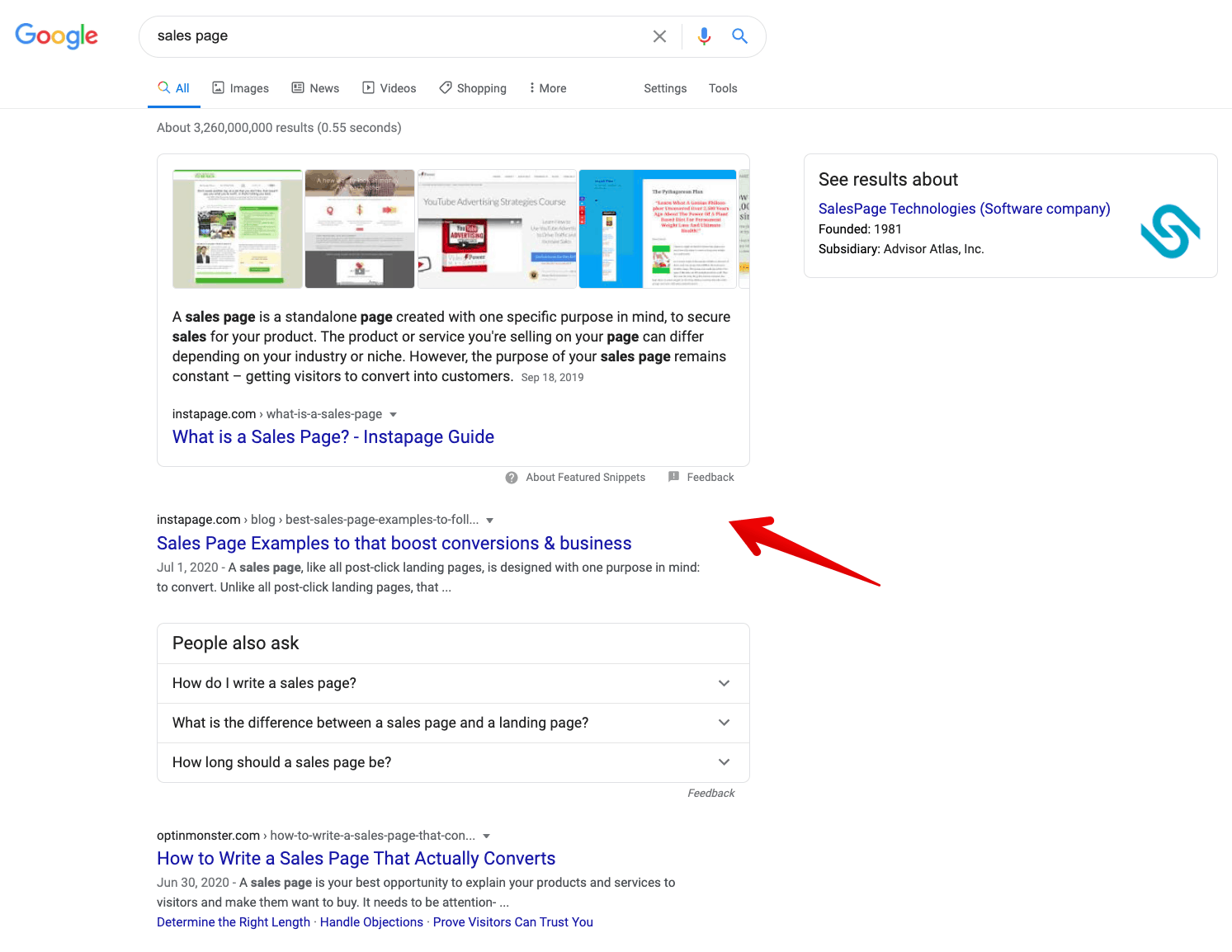 sales page number one google ranking