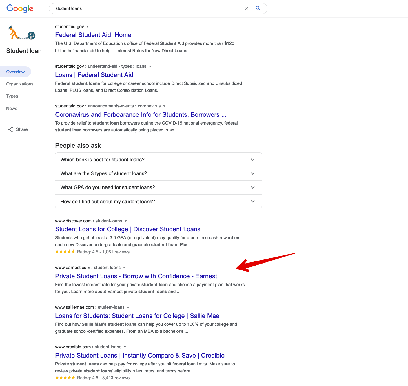 student loans page one google ranking