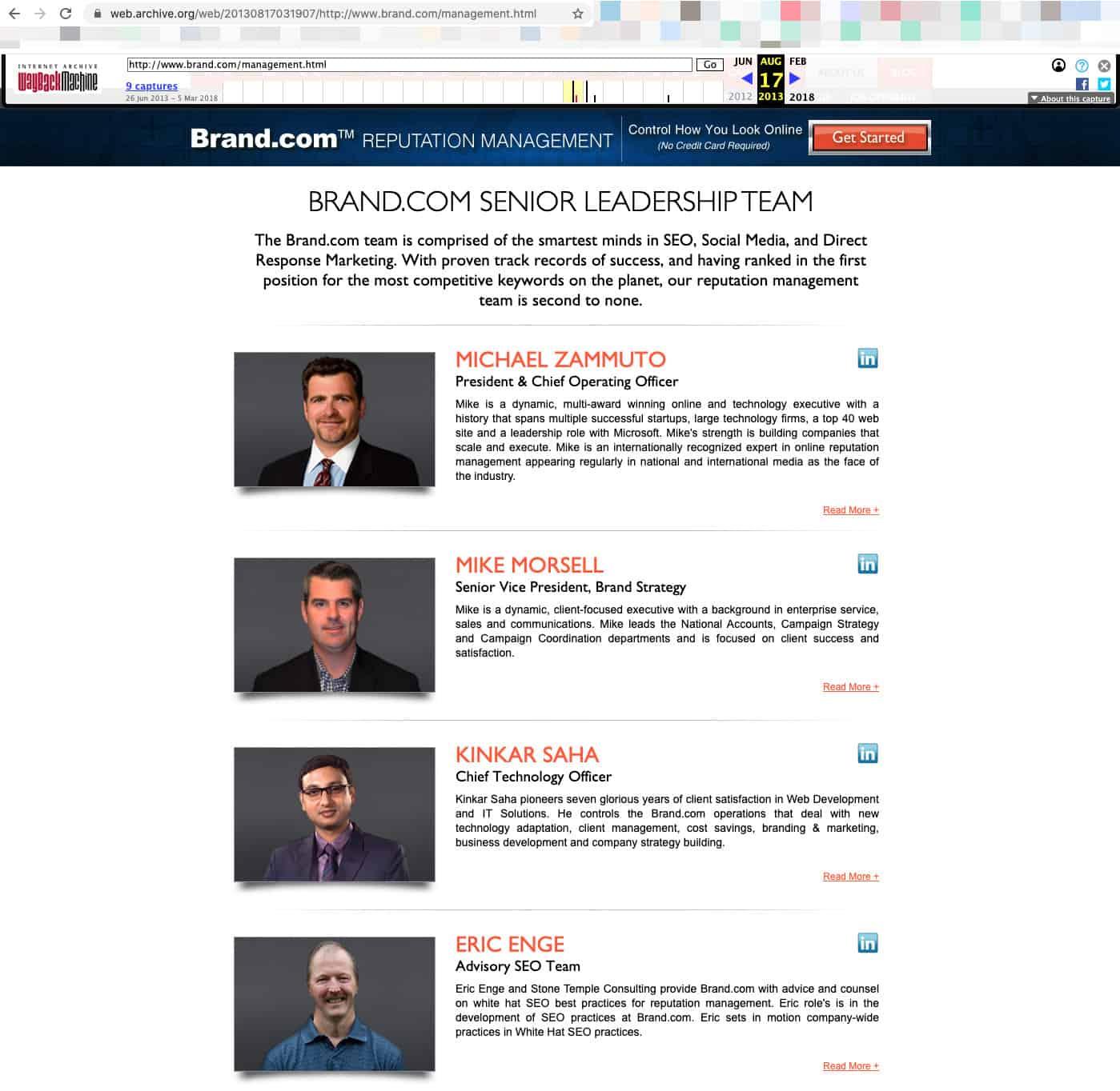 Brand.com Management page screenshot
