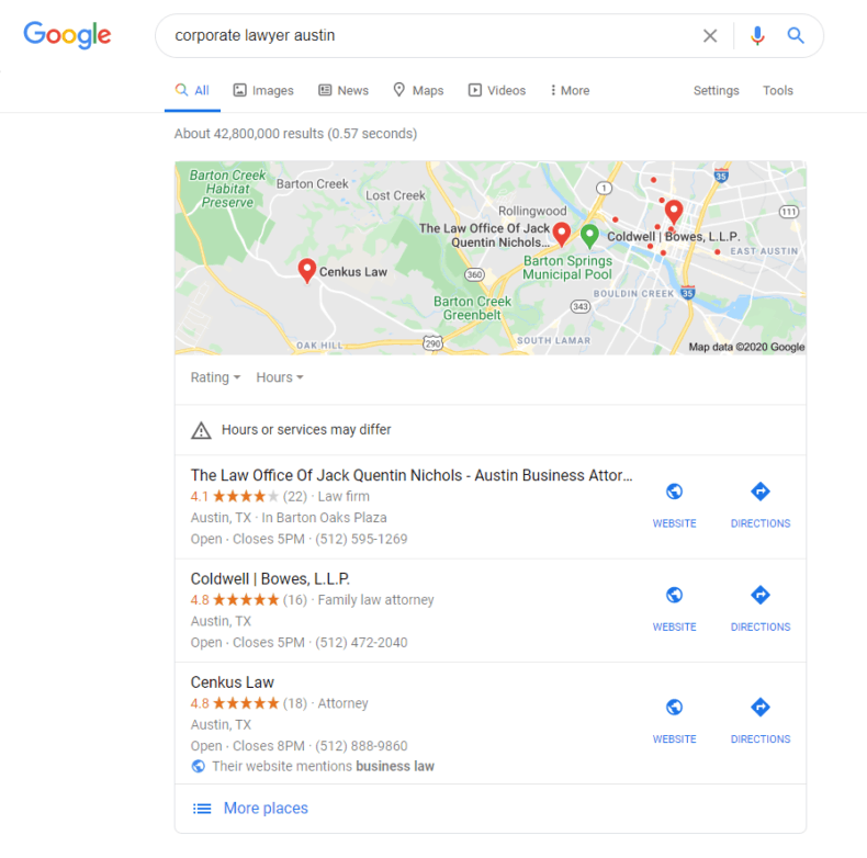 Google SERP of corporate lawyer Austin query