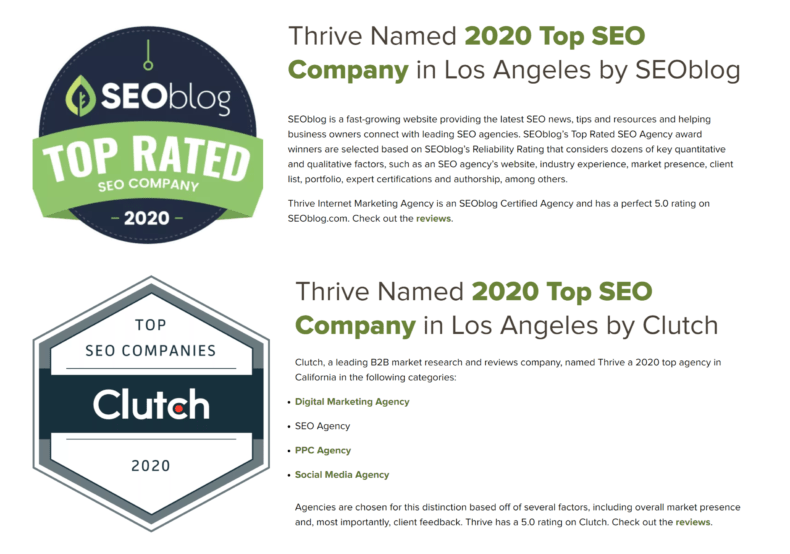 Authority badges that can help with SEO lead generation.