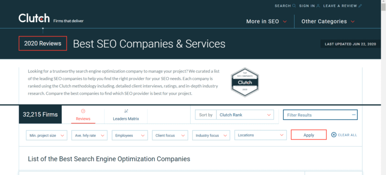 Clutch rankings of the best SEO companies & services.