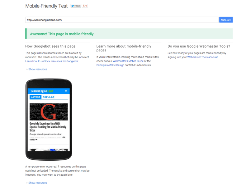 Google mobile-friendly test results.