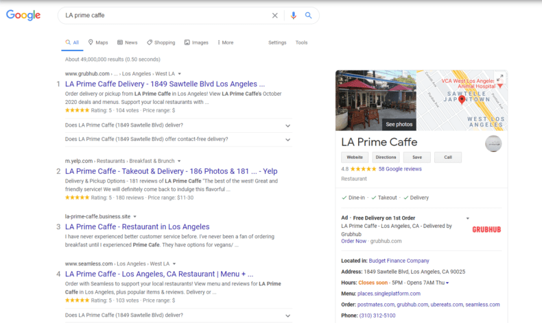 A SERP showing a Google My Business page.