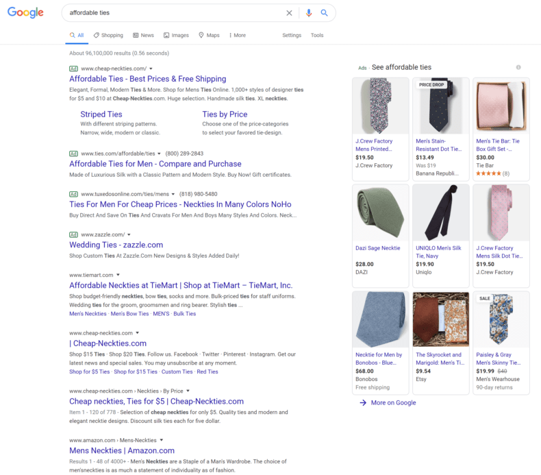"""Google search results for the query """"affordable ties."""""""
