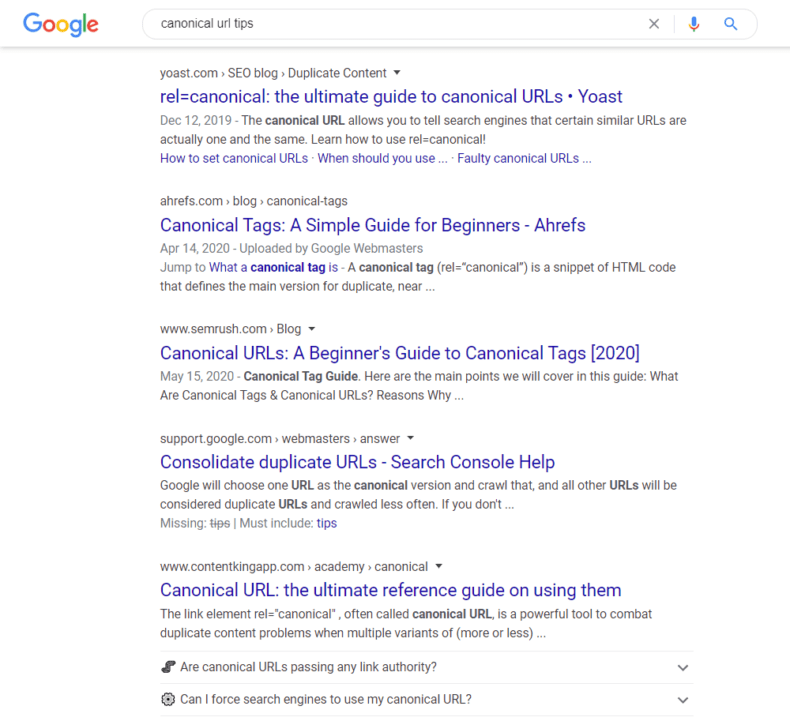 """Google search engine results page for the query """"canonical URL tips."""""""
