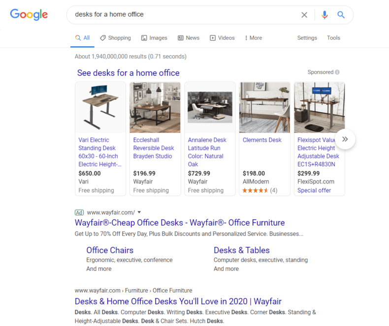 "A Google search engine results page for the query ""desks for home office."""