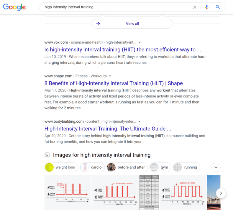 """A Google search results page for """"high intensity interval training."""""""