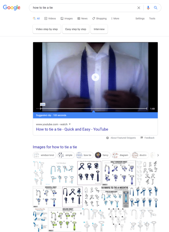 """Google search results page for the query """"how to tie a tie."""""""
