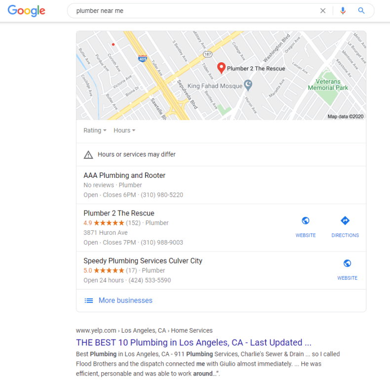 "Google search results page for ""plumber near me."""