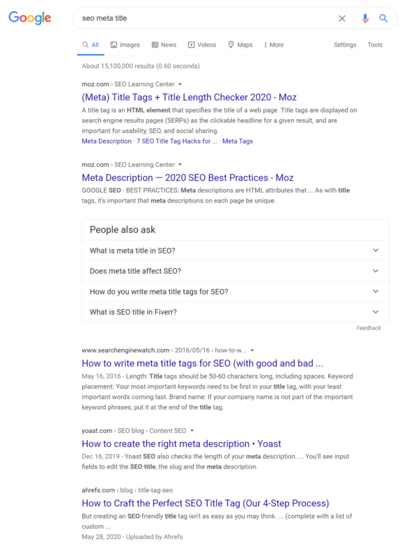 """Google search engine results page for the query """"seo meta title."""""""