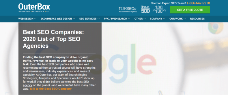 The OuterBox rankings of the best SEO companies in 2020.