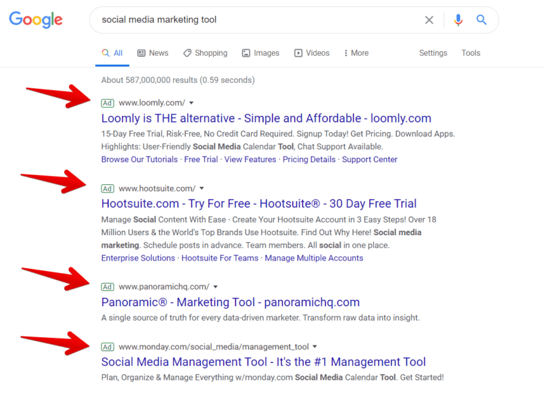 Google search engine results page showing PPC ads.