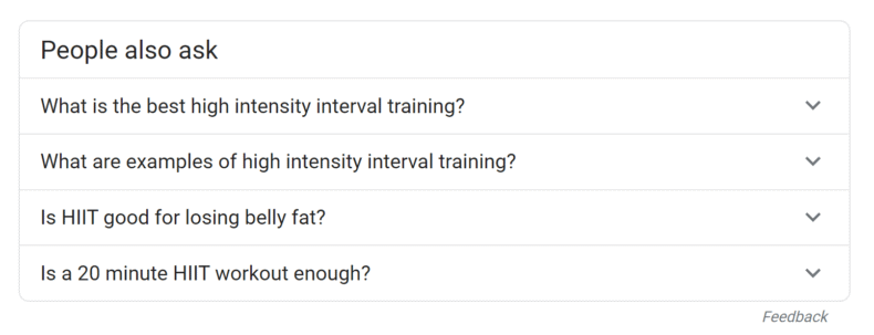 """People also ask"" module on Google SERP for ""high intensity interval training."""