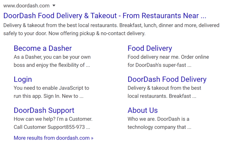 A search result with deep links due to schema markup.