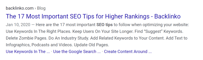 Search engine result showing an effective meta title.