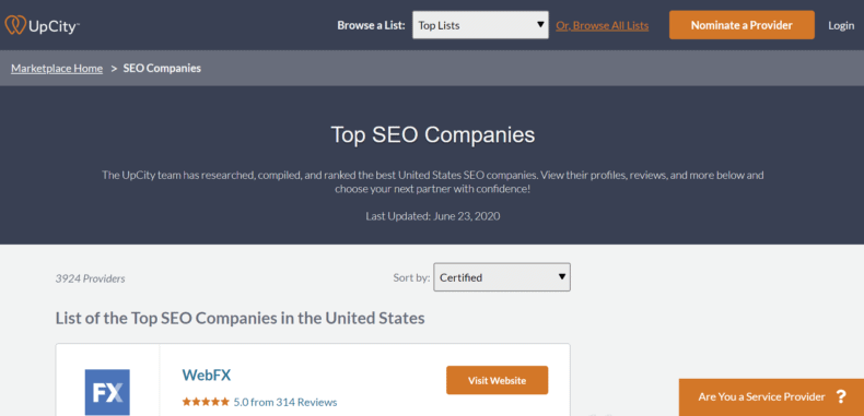 The best SEO companies list from Upcity.
