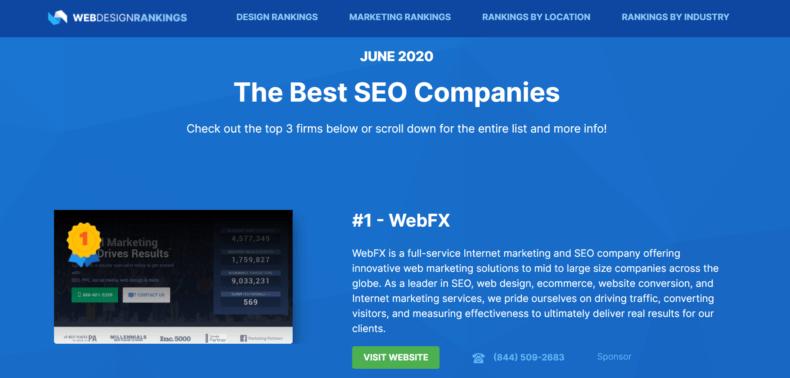 The best SEO companies list according to Web Design Rankings.