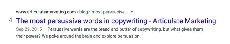 An example of effective meta title and meta description.