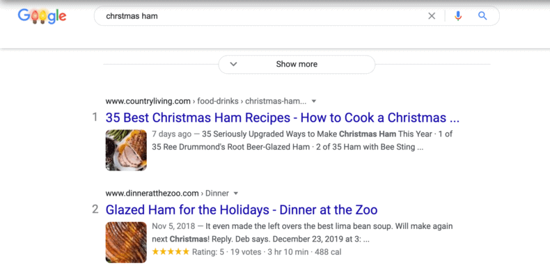 """A rich snippet for the search """"Christmas ham."""""""