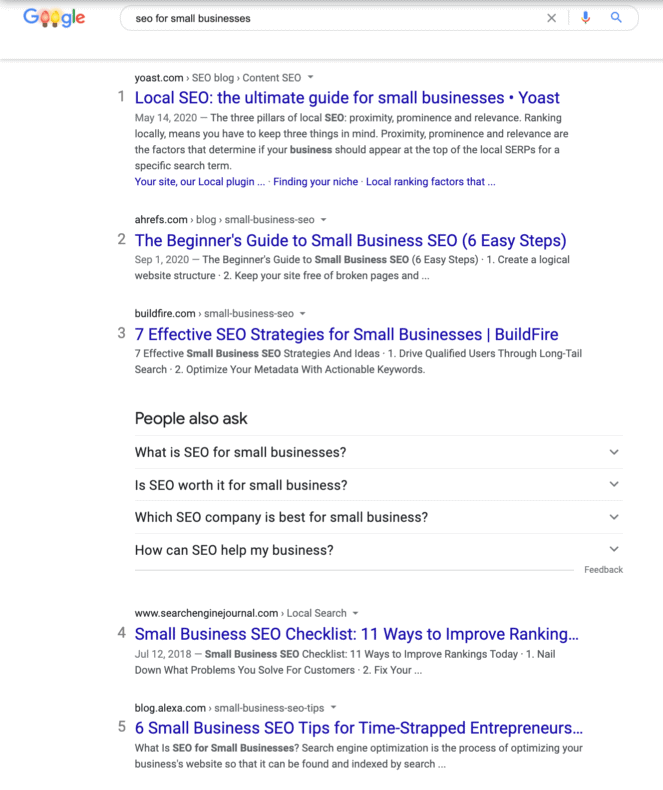 """A search engine results page for """"small business SEO."""""""