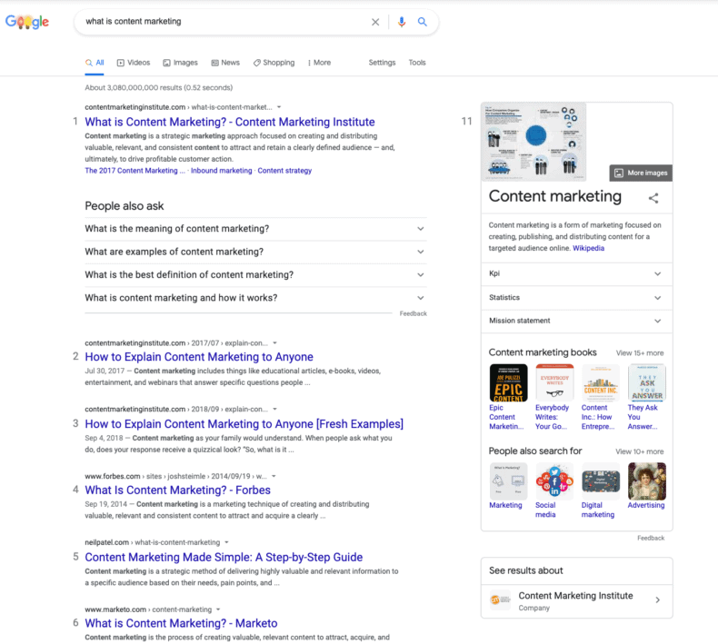 """A search engine results page for """"what is content marketing?"""""""