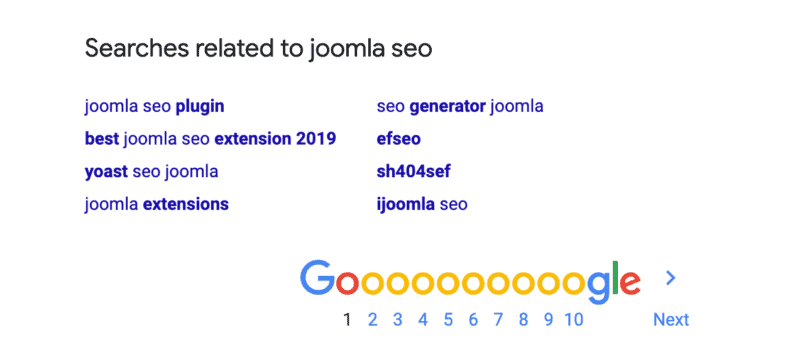 """A SERP for the search """"joomla seo"""" which shows topics related to the query."""