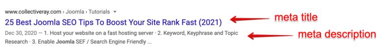 "SERP for ""Joomla SEO"" showing meta title and meta description."