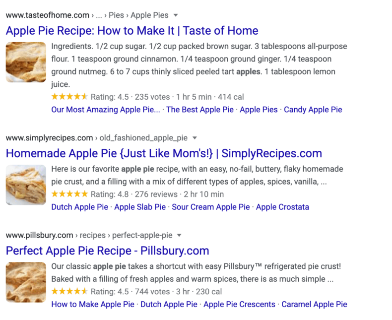 """A rich snippet for the search """"apple pie"""" which shows reviews and images as well as text."""