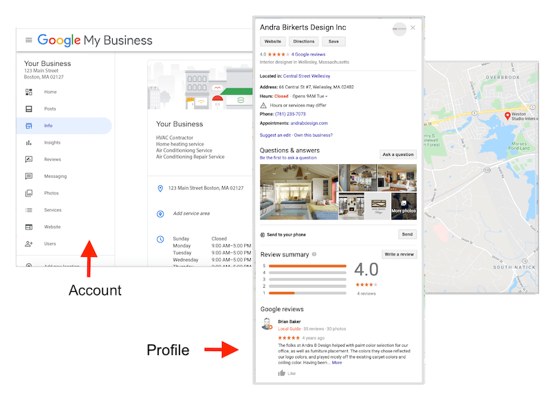 A Google My Business Page for small business SEO.