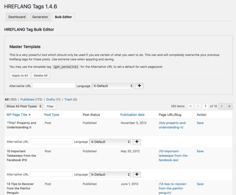 Dashboard of WordPress SEO plugin for administering hreflang tag.