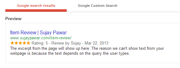 A screenshot from the WordPress schema plugin that shows a rich snippet with reviews.