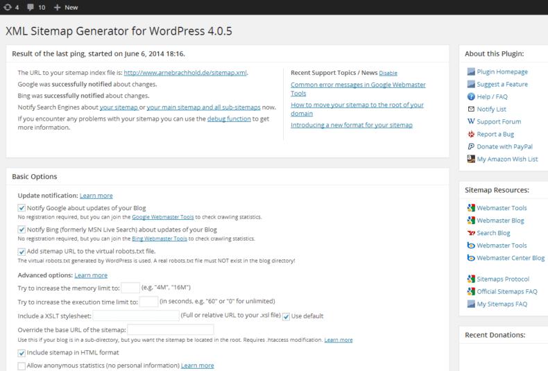 WordPress SEO plugin for XML sitemaps.