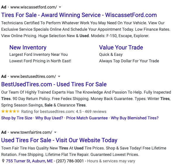 A search engine results page showing PPC ads.
