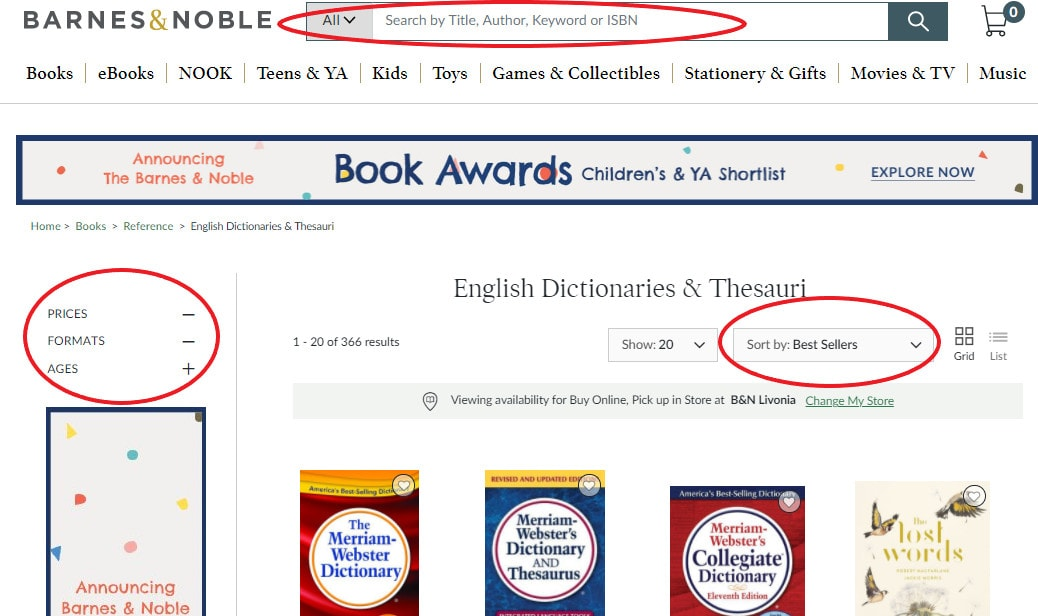 The Barnes n Noble website showing dictionaries for sale.