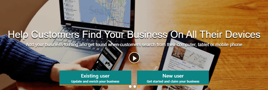 A screenshot of the Bing Places signup page.