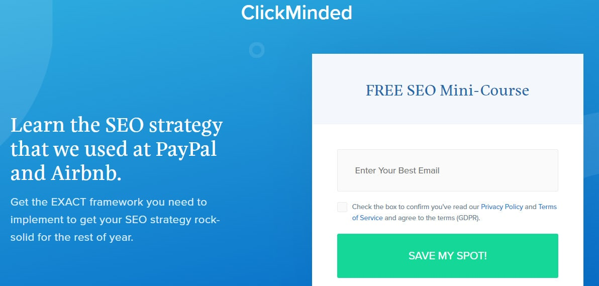 Screenshot of the Clickminded SEO course landing page.