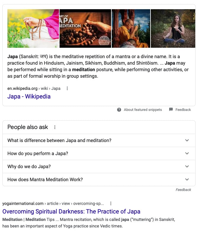 "A featured snippet for the search term ""Japa Meditation."""