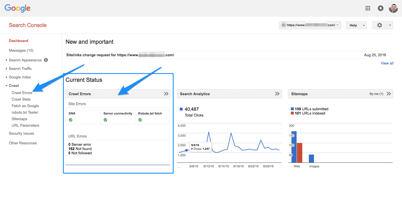 A screenshot of the Google Search Console dashboard showing the SEO metric crawl errors.