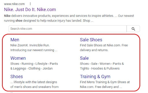 An example of how to increase your SEO visibility with Google sitelinks.
