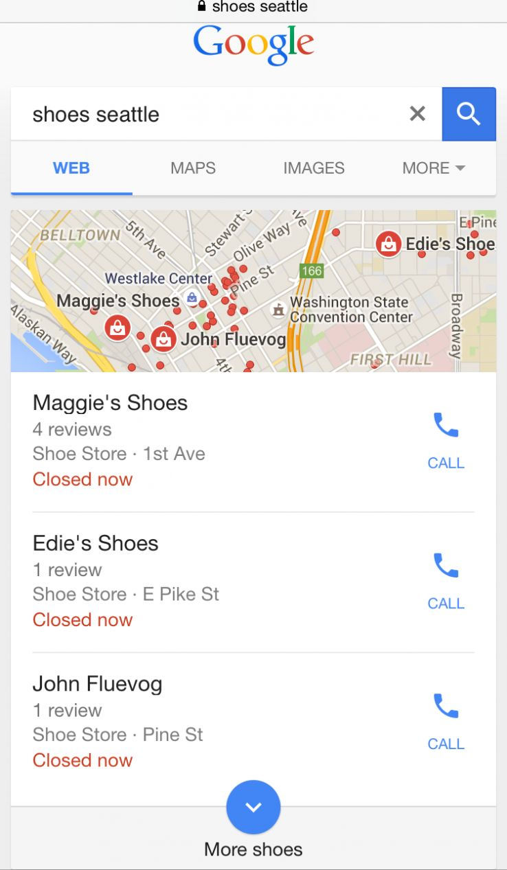 """A Google snack pack result for the search """"Shoes Seattle"""" that demonstrates the importance of local SEO."""