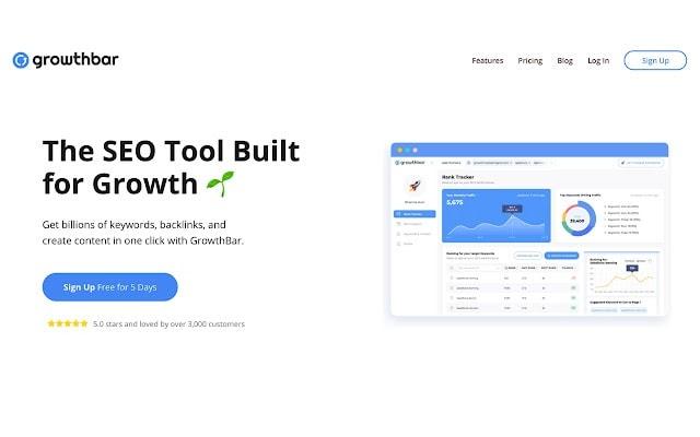 A screenshot of the Growthbar SEO toolbar for Google Chrome.