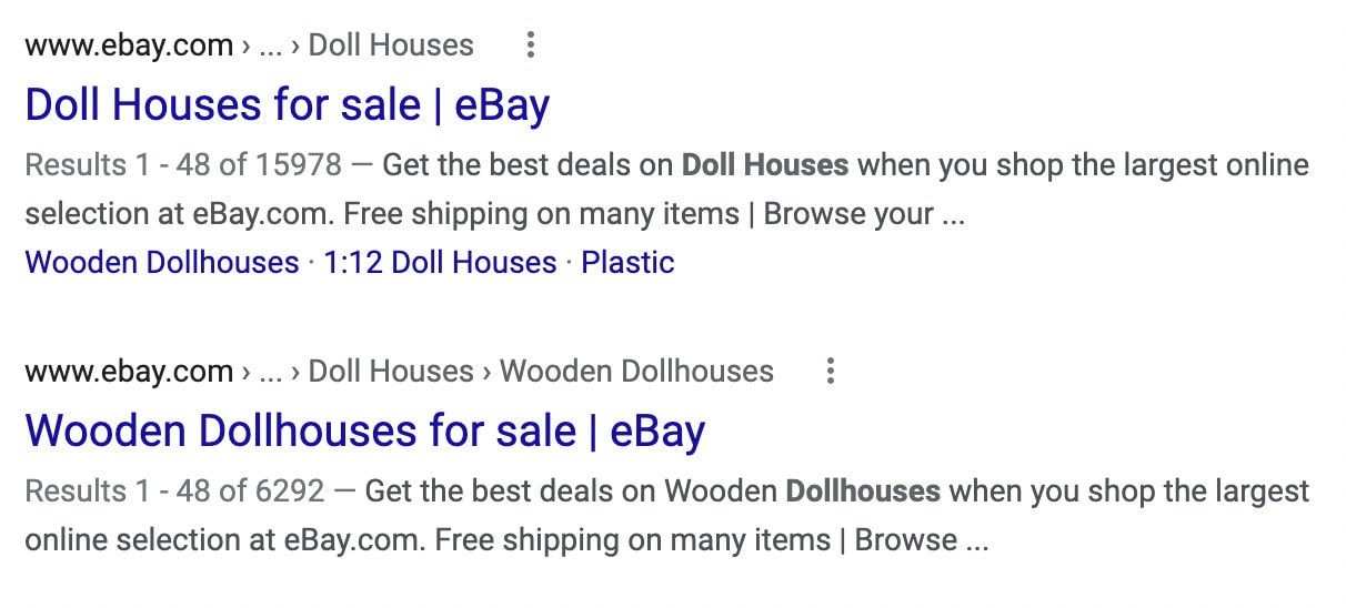 A SERP showing the meta title and meta description of pages for doll houses.