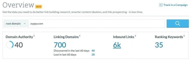 A screenshot of Mozbar showing domain authority.