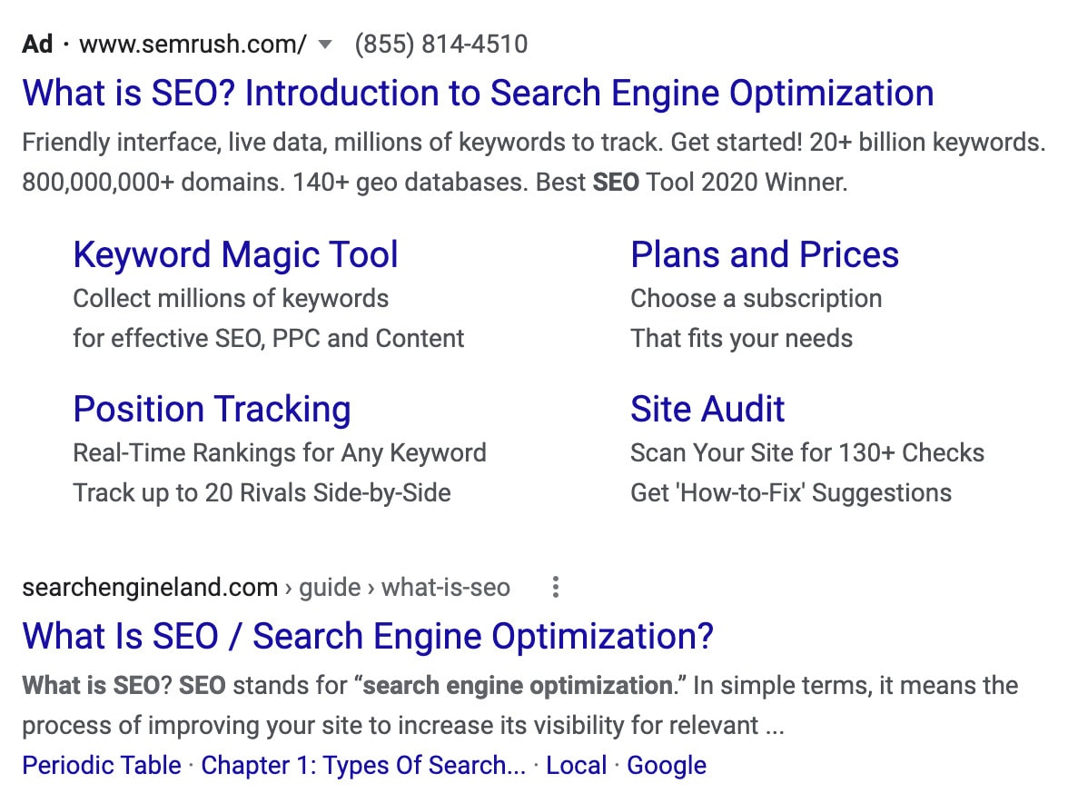 A search engine results page showing the basic difference between SEO and PPC.