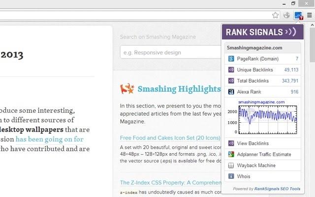 A screenshot of the Quick SEO toolbar for Chrome.