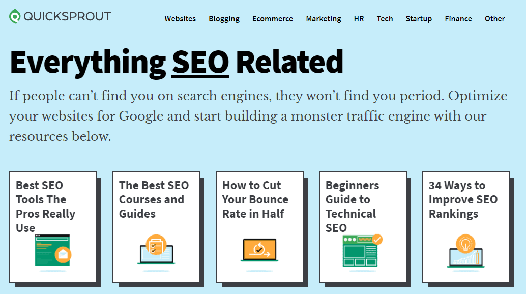 The modules of the Quicksprout SEO course.