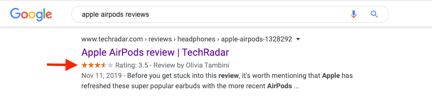A rich snippet example for Apple Airpods showing ratings for the product.