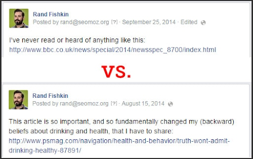 An example of an SEO-friendly URL compared to a non SEO-friendly URL on social media.