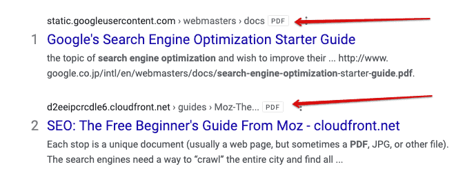 A search result with PDF next to the title.